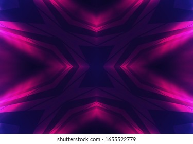 Dark abstract futuristic background. Neon glow, light lines, shapes. UV radiation. Empty Stage Background