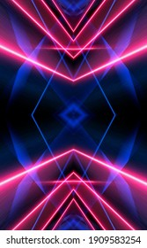 Dark abstract futuristic background. Neon lines, glow. Neon lines, shapes. Pink and blue glow. Symmetrical reflection of neon rays.
