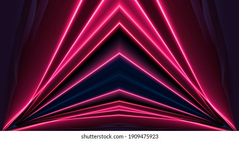 Dark abstract light tunnel, red neon light. Neon lines, dynamic modern backdrop. Symmetrical reflection of neon rays.