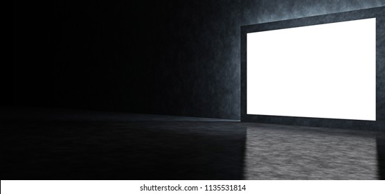 Dark abstract room with a glowing screen. 3D Render