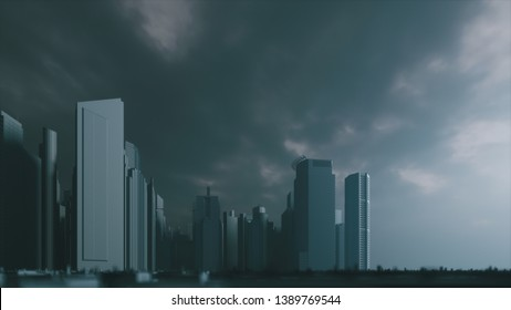 Dark apocalyptic view of a city. Gloomy apocalyptic town. Grey city. 3d illustration