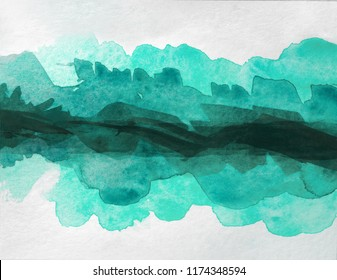 dark aquamarine watercolor stain. strip for design. layered dark in the middle. with place for text