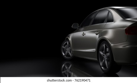 Dark background with car silhoulette 3D illustration