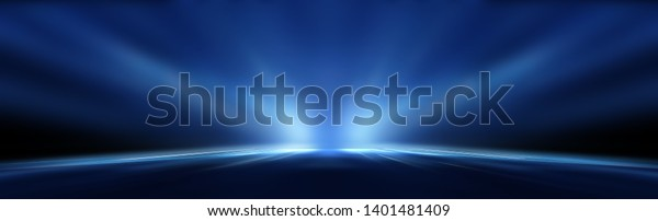 Dark background with lines and spotlights, neon light, night view. Abstract blue background.