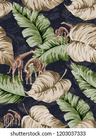 The dark background of the rainforest's dense foliage, watercolor paintings, and the giraffe family