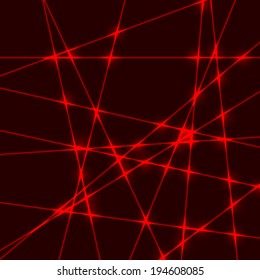 Dark background with red beams from laser light with glow cross