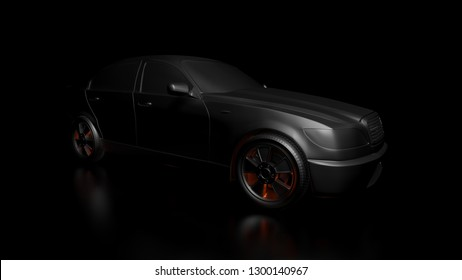 Dark background with silver car and red flares. 3d Illustration