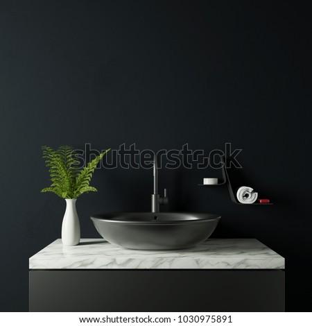 Dark Bathroom Vase Plant 3 D Rendering Stock Illustration 1030975891