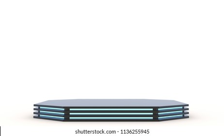 Dark Black metall pedestal with empty stage. Space to place your text or object. 3d. Blue neon.