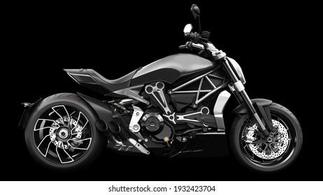 Dark black metallic chopper motorcycle 3d render
