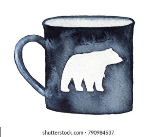 Dark black mug with walking bear silhouette emblem. Single object, side view, simple style, black and white. Watercolour, pen and ink drawing, hand drawn art, isolated on white background.