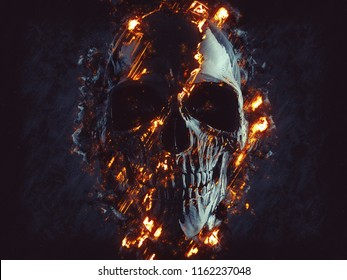 Dark black skull - glowing flames and lava - 3D Illustration