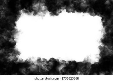 Dark black smoke frame white background cloudy backdrop