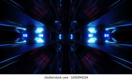 dark black space tunnel with blue glowing artefact 3d rendering