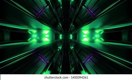 dark black space tunnel with green glowing artefact vjloop 3d rendering