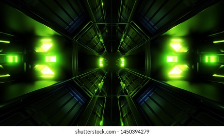dark black space tunnel with green glowing artefact 3d rendering