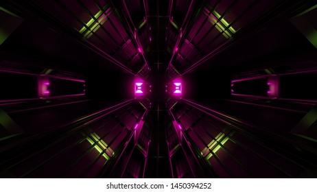 dark black space tunnel with pink glowing artefact 3d rendering