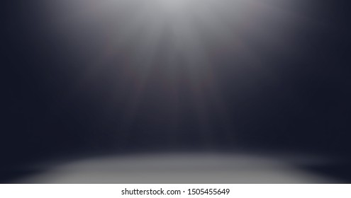 Dark black studio with gradient light and spotlight in empty room background, showcase wall and floor interior for product display