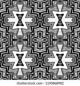 Dark black and white Geometric Watercolor. Decent Seamless Pattern. Hand Drawn Stripes. Brush Texture. Uncommon Chevron Ornament. Fabric Cloth Swimwear Design Wallpaper Wrapping.