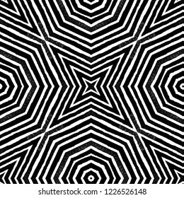 Dark black and white Geometric Watercolor. Dazzling Seamless Pattern. Hand Drawn Stripes. Brush Texture. Mesmeric Chevron Ornament. Fabric Cloth Swimwear Design Wallpaper Wrapping.