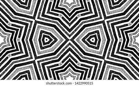 Dark black and white Geometric Watercolor. Dazzling Seamless Pattern. Hand Drawn Stripes. Brush Texture. Vibrant Chevron Ornament. Fabric Cloth Swimwear Design Wallpaper Wrapping.