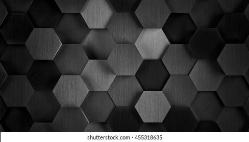 Dark Black and White Hexagonal Tile Background - 3D Illustration
