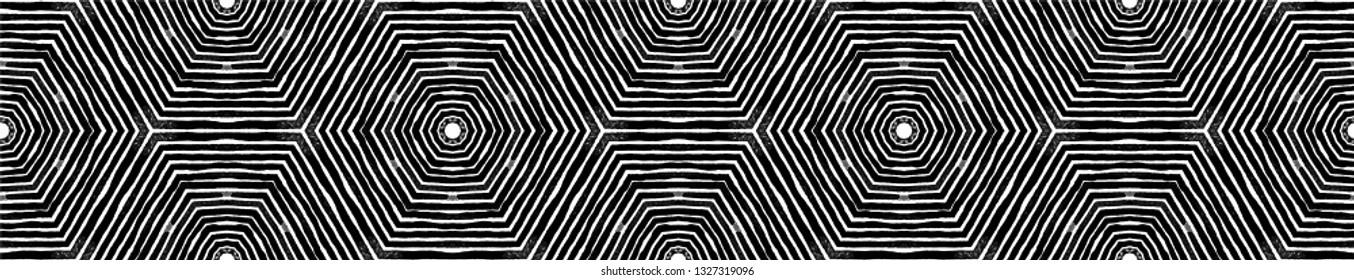 Dark black and white Seamless Border Scroll. Geometric Watercolor Frame. Alluring Seamless Pattern. Medallion Repeated Tile. Favorable Chevron Ribbon Ornament.