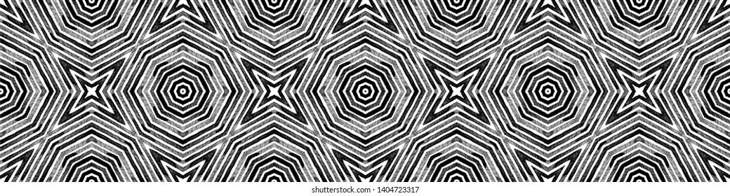 Dark black and white Seamless Border Scroll. Geometric Watercolor Frame. Alive Seamless Pattern. Medallion Repeated Tile. Unique Chevron Ribbon Ornament.