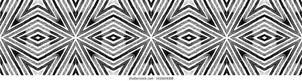 Dark black and white Seamless Border Scroll. Geometric Watercolor Frame. Alluring Seamless Pattern. Medallion Repeated Tile. Elegant Chevron Ribbon Ornament.