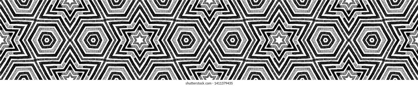 Dark black and white Seamless Border Scroll. Geometric Watercolor Frame. Alluring Seamless Pattern. Medallion Repeated Tile. Emotional Chevron Ribbon Ornament.