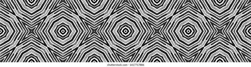 Dark black and white Seamless Border Scroll. Geometric Watercolor Frame. Alive Seamless Pattern. Medallion Repeated Tile. Worthy Chevron Ribbon Ornament.