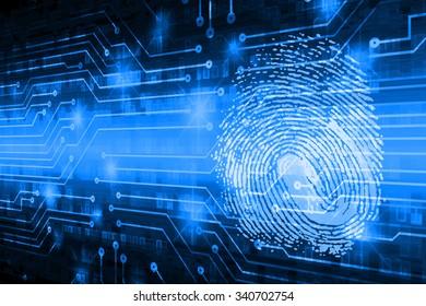 dark blue Abstract digital conceptual technology security background with lock. computer technology website internet web. infographics. fingerprint. Finger-print scanning. Hand print.