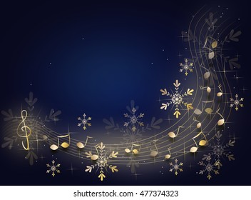 Dark blue background with shiny golden music notes and snowflakes