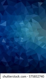 DARK BLUE blurry triangle background design. Geometric background in Origami style with gradient.