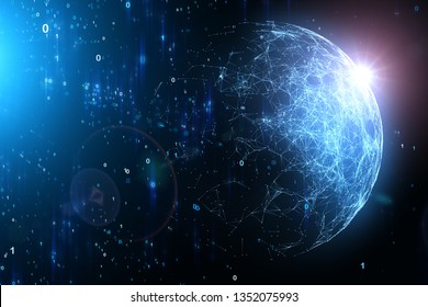 Dark blue colored abstract computer cyberspace background with digital  sunny sphere illustration.