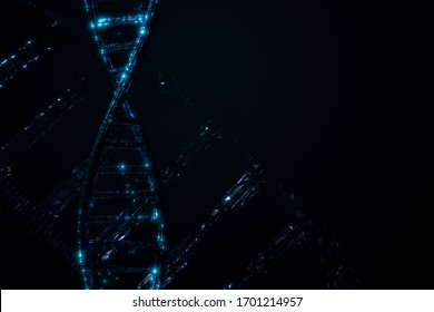 Dark blue DNA abstract background and banner for medical and healthcare , 3D rendering background