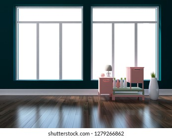 dark blue empty interior with bedside tables and other decor. 3d illustration