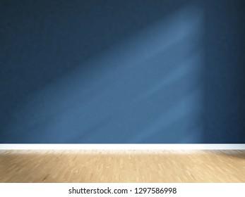 dark blue empty interior with sunlight on the wall. 3d illustration
