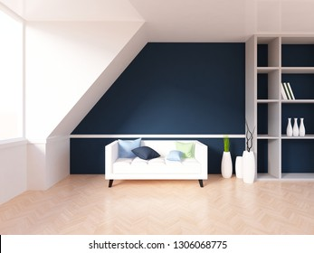dark blue empty interior with a white sofa and vases. 3d illustration