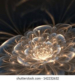 dark blue fractal flower with golden rays, illustration
