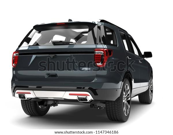 Dark blue gray metallic modern SUV - back view - 3D Illustration