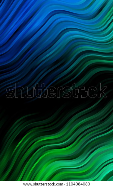 Dark Blue, Green background with liquid shapes. Shining illustration, which consist of blurred lines, circles. Brand-new design for your ads, poster, banner.
