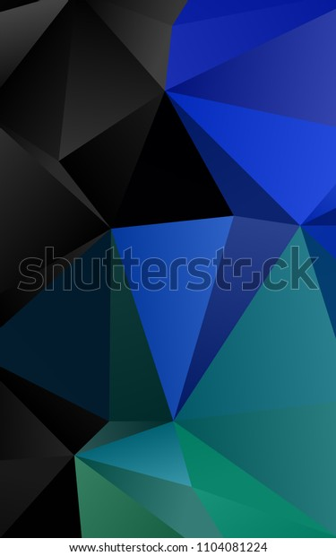 Dark Blue, Green vertical abstract mosaic template. A sample with polygonal shapes. The textured pattern can be used for background.