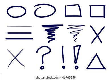 Dark blue ink symbol and design element set. Real media illustration.
