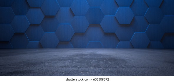 Dark Blue Interior with Hexagonal Tile Wall and Concrete Floor (3d Illustration)