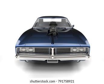 Dark blue metallic vintage American muscle car - front view - 3D Render