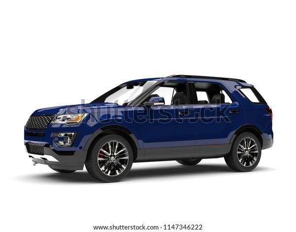 Dark blue modern SUV - beauty shot - 3D Illustration