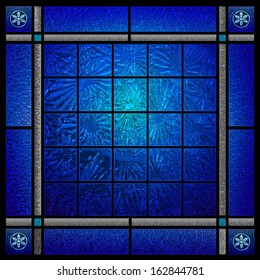 dark blue patterned stained glass window