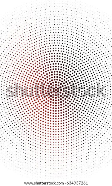 Dark Blue, Red pattern with colored spheres. Geometric sample of repeating circles on white background in halftone style.