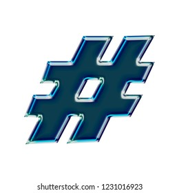 Dark blue shiny glass hashtag social media icon or pound sign symbol in a 3D illustration with a bright beveled edge highlight and blue glow in a basic bold font isolated on white with clipping path